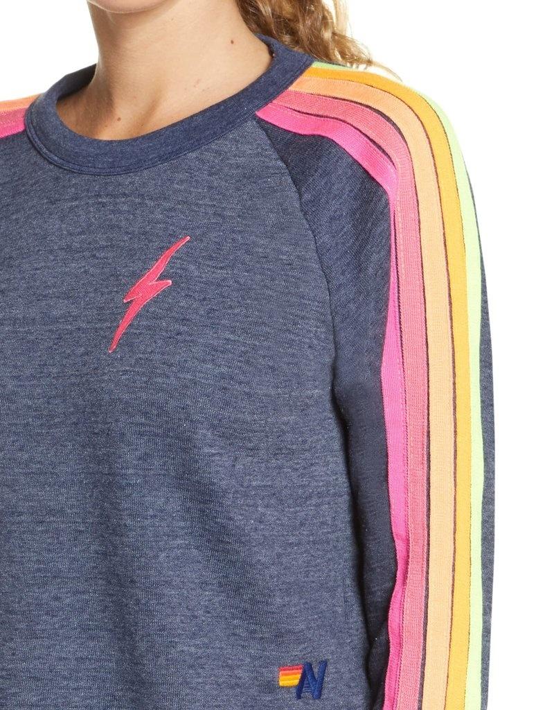 Aviator Nation Bolt Cropped Classic Crew Sweatshirt Heather Navy Neon