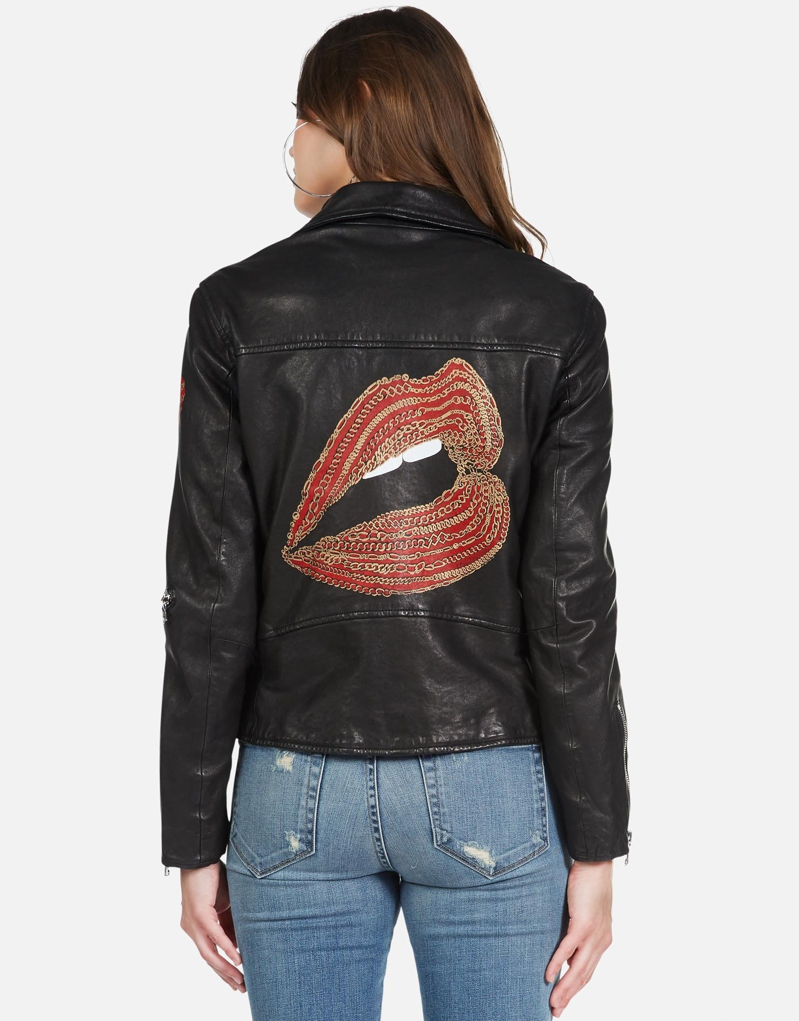Lauren Moshi Gold Foil Chain Lip Posey Leather Moto Jacket S