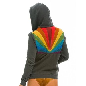 Aviator Nation Sunburst Zip Hoodie Vintage Charcoal