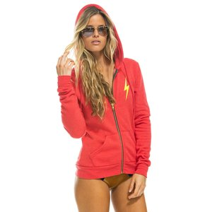 Aviator Nation Bolt 2 Zip Hoodie Neon Red