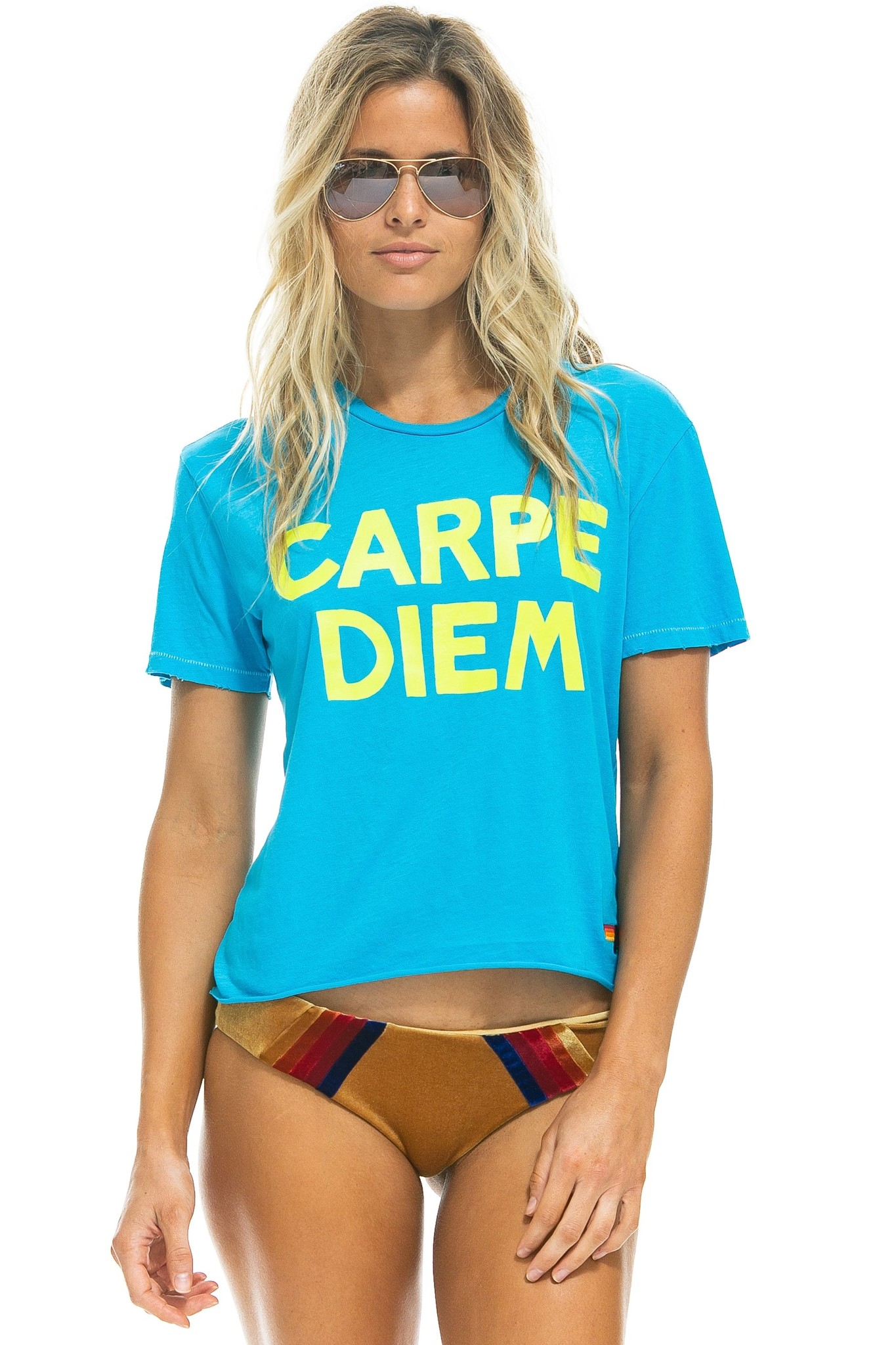 Aviator Nation Carpe Diem Boyfriend Tee Neon Blue