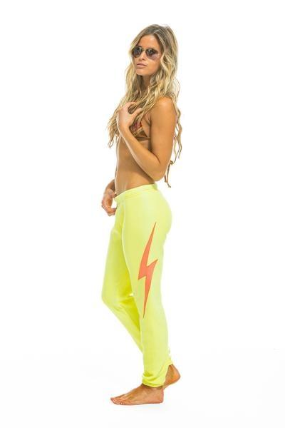 Aviator Nation Bolt Stitch Womens Sweatpant Neon Yellow