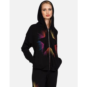 Lauren Moshi Viola Rainbow Zipper Hoodie Black Bright Starburst