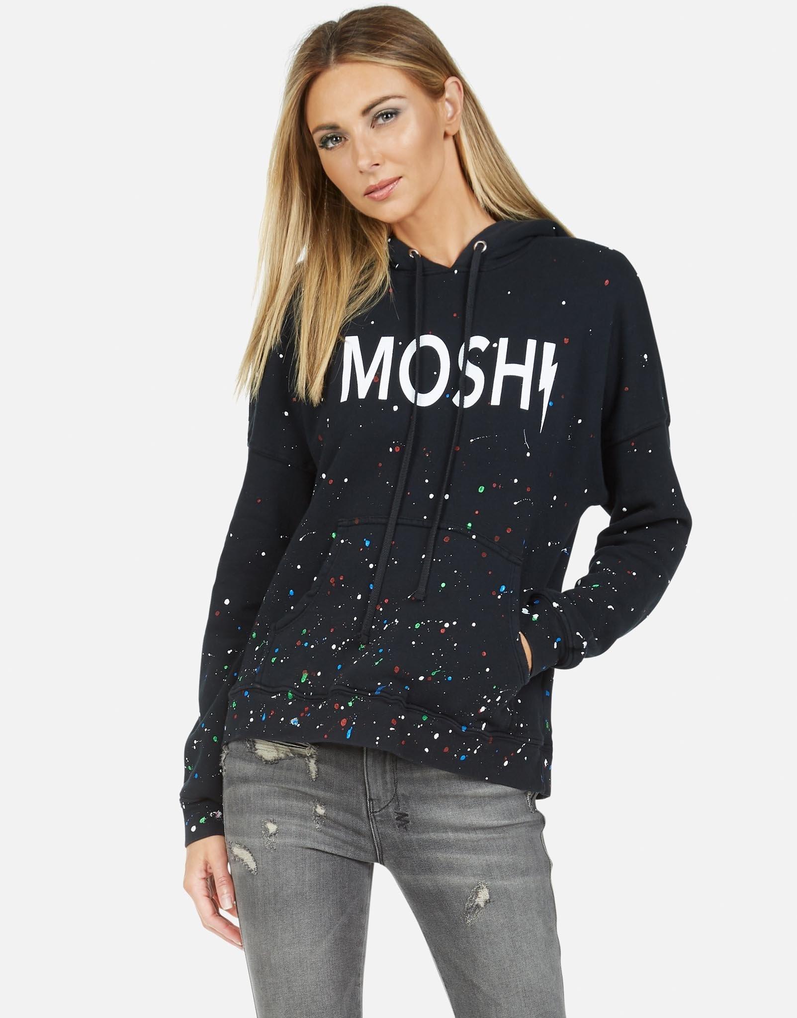 Lauren Moshi Melanie P/O Hoodie Black/Multi Splatter