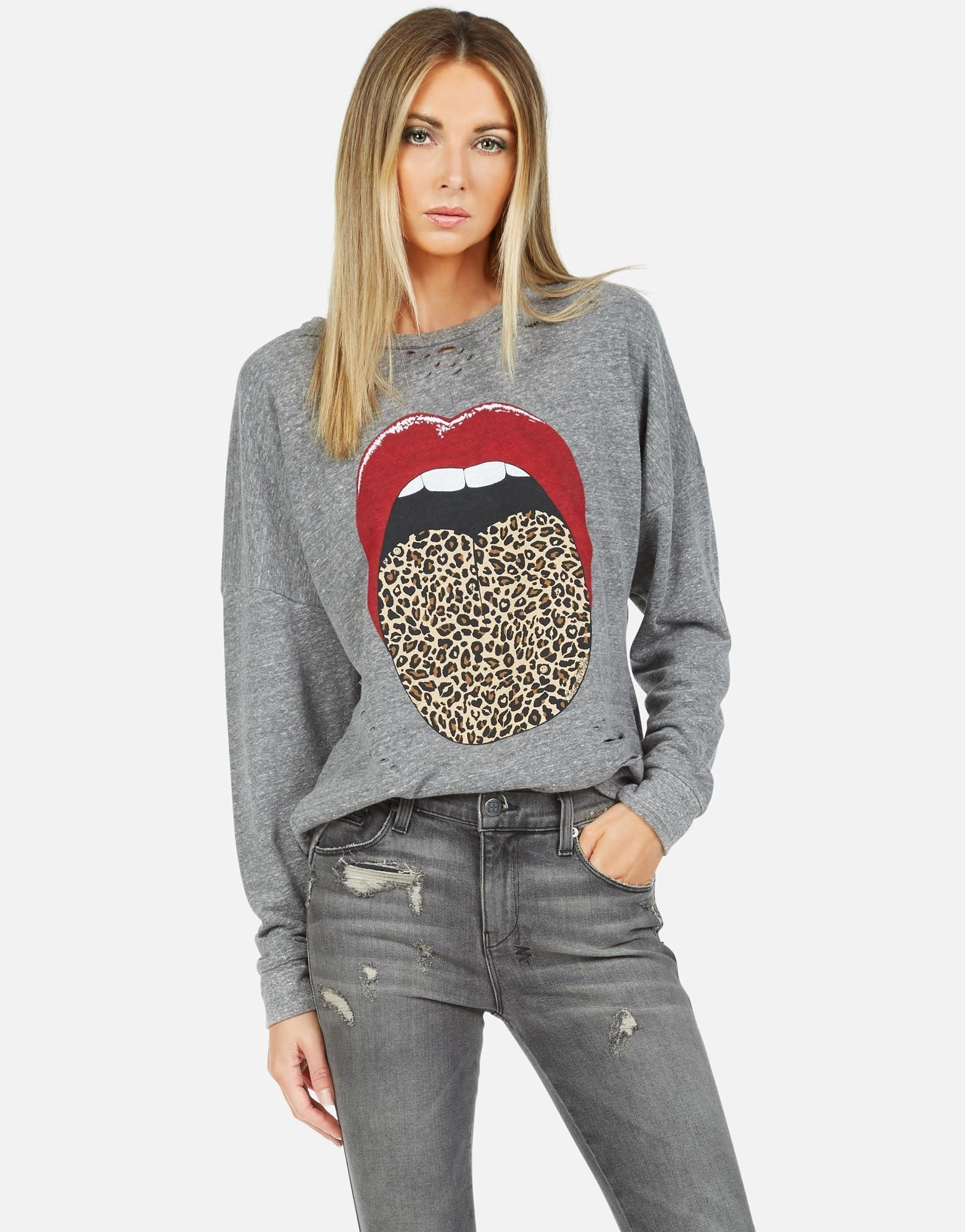Lauren Moshi Flora Vintage Oversized Drop Shoulder Leopard Tongue H. Grey