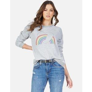 Lauren Moshi Katelyn L/S Vintage Raglan Pullover Rainbow Heart