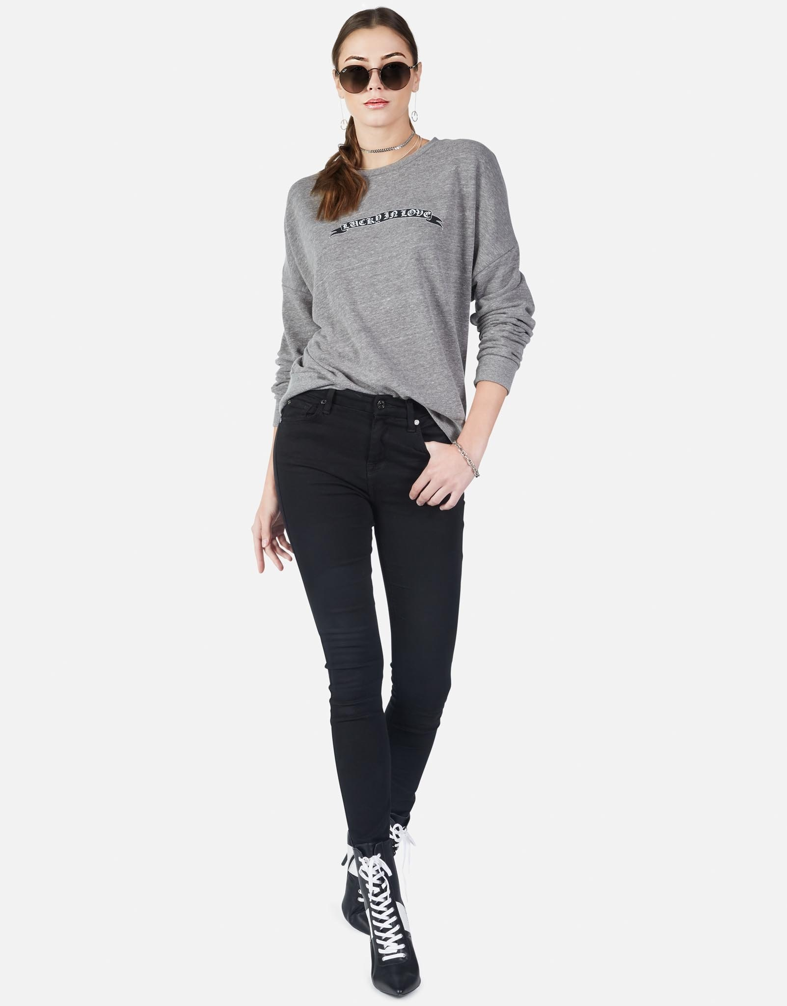 Lauren Moshi Heather Grey Lucky In Love Flora Pullover
