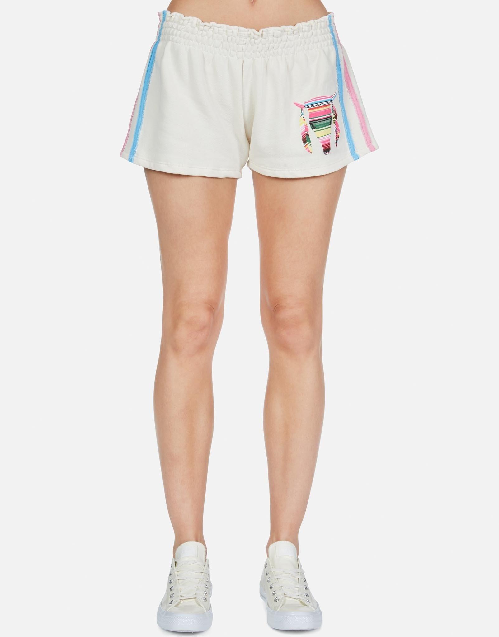 Lauren Moshi Shandra Smocked Shorts w/ Stripe Bull S
