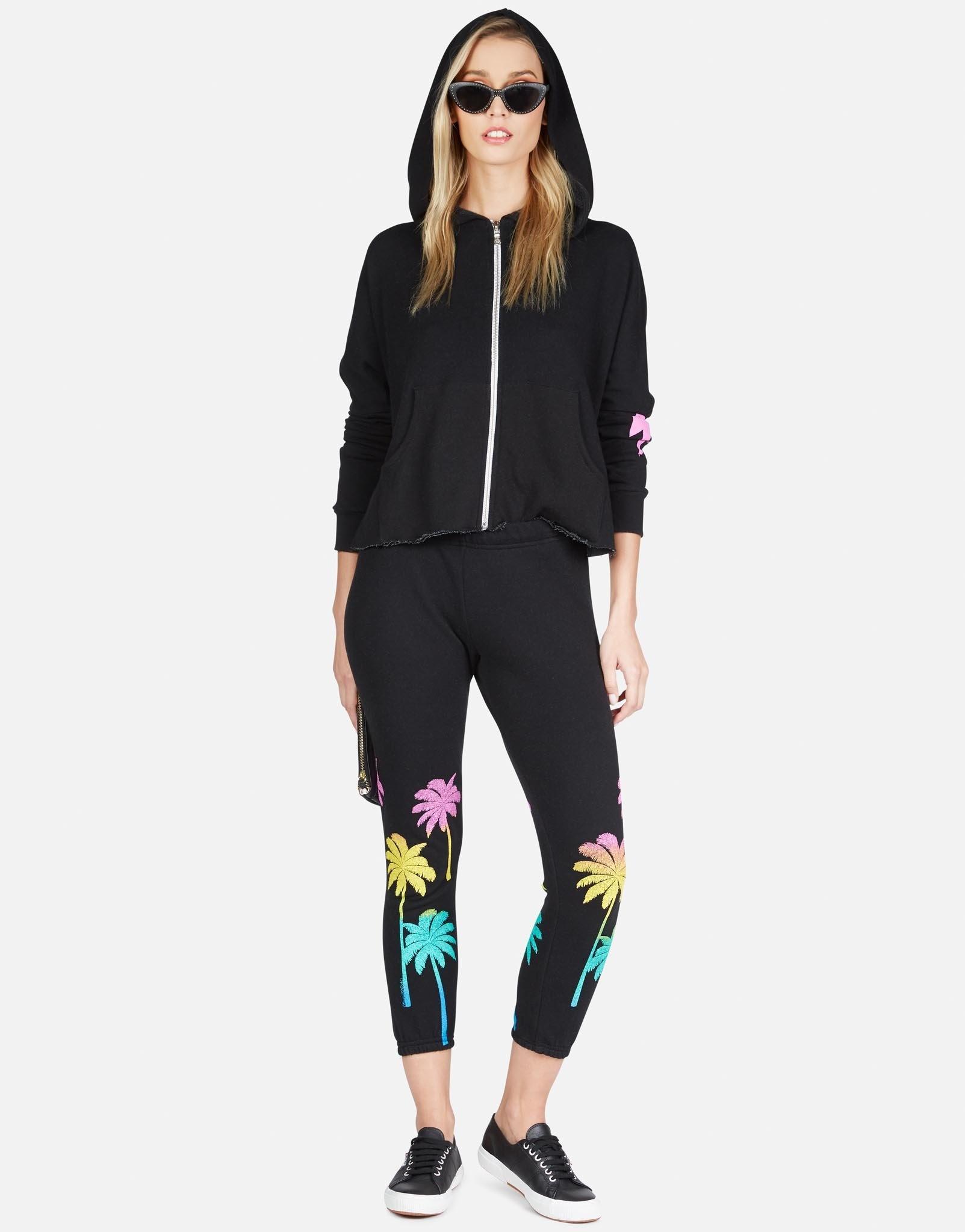 Lauren Moshi Alana Crop Sweatpant - Neon Palm Trees