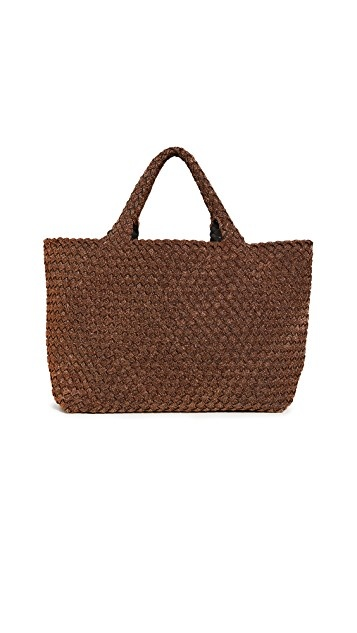 Naghedi St Barths Small Spiced Amber Metallic Lurex Tote