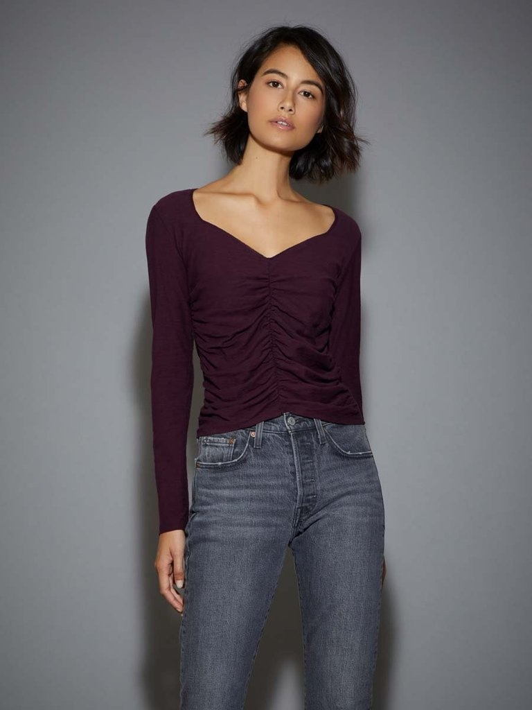 Nation Alejandra Ruched Crop Tee Mulberry