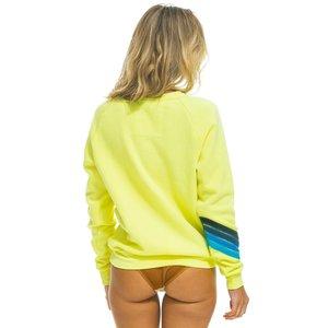 Aviator Nation Bolt Stitch Chevron Crew Sweatshirt Neon Yellow
