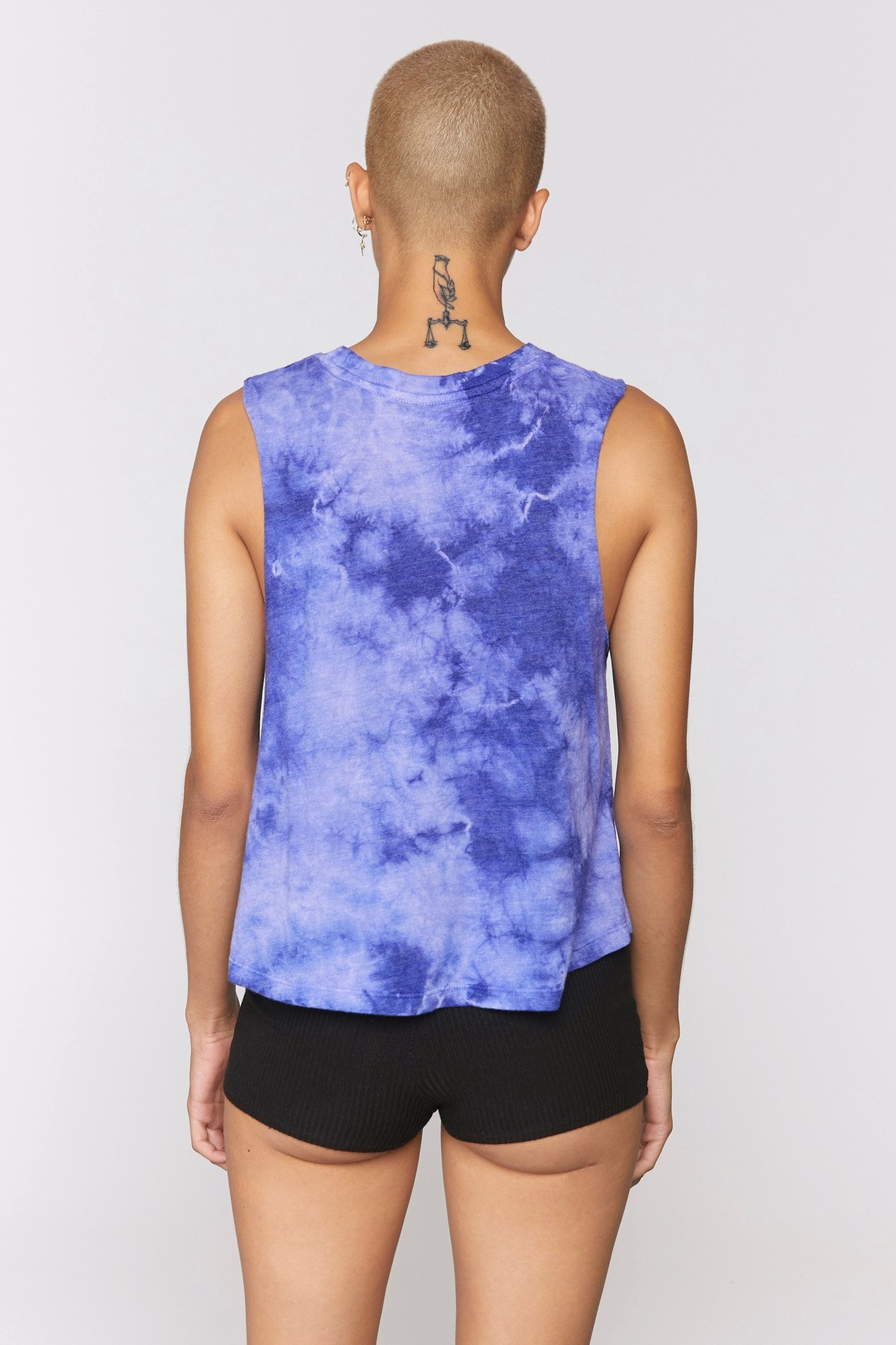 Spiritual Gangster Sky Crop Tank Royal Cloud Tie Dye