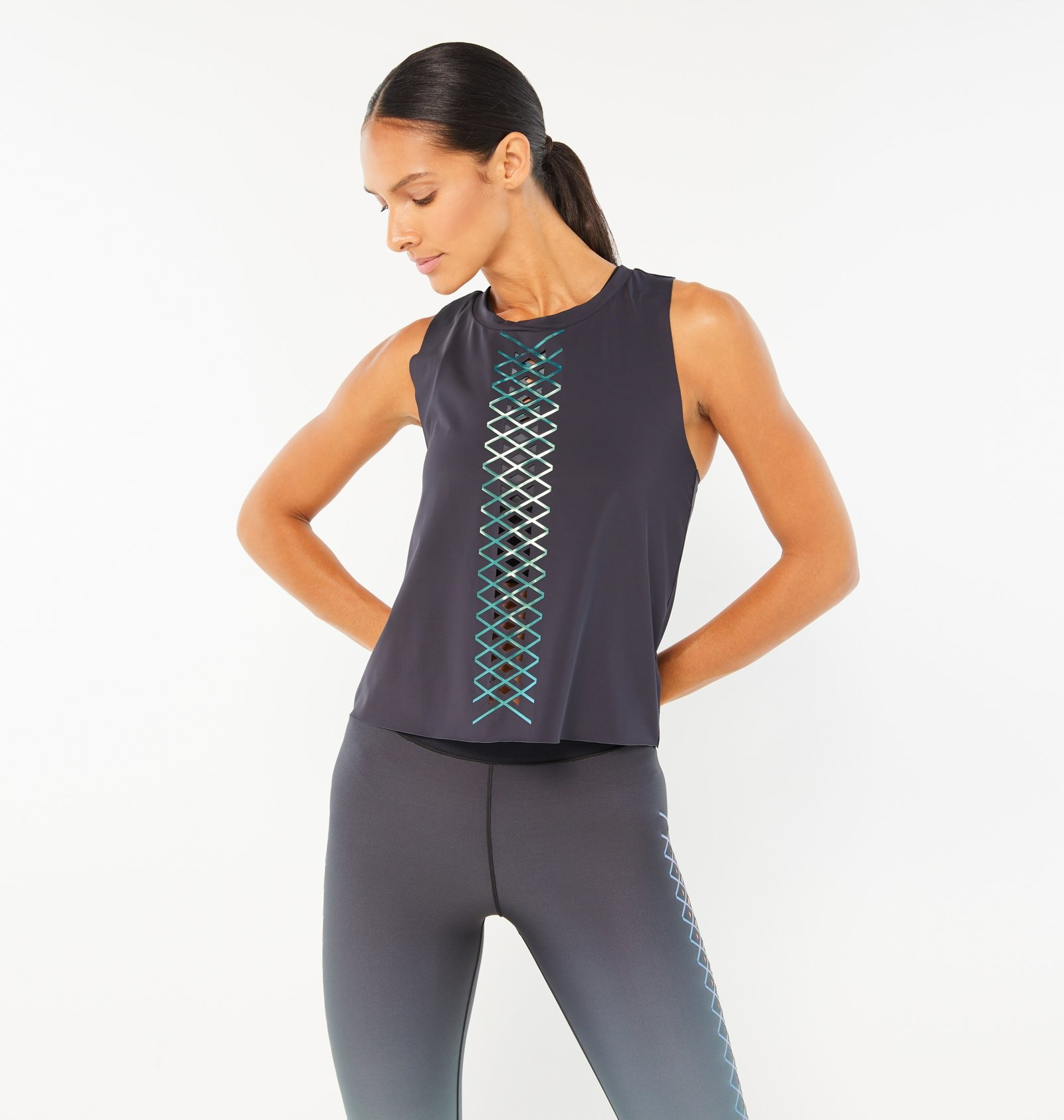 Ultracor Interlace Racerback Tank Nero Peacock