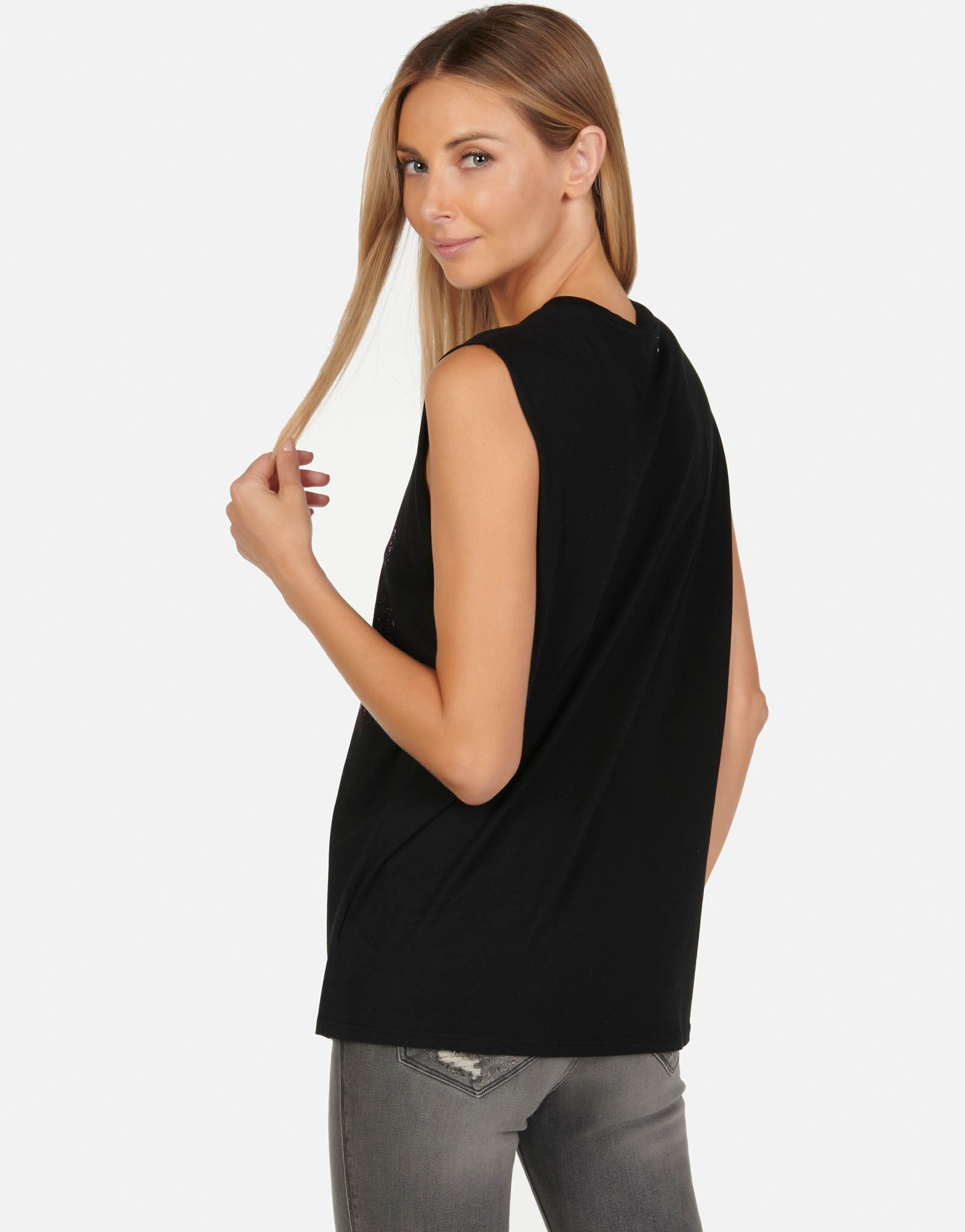 Lauren Moshi Black Kel Muscle Tank - Sparkle Rose