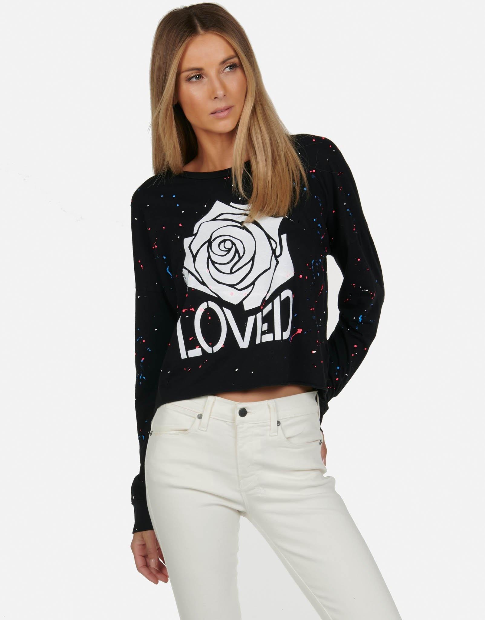 Lauren Moshi Black Lori L/S Crop Tee - Loved Rose