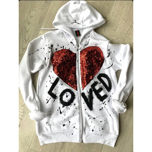 Hi Gorgeous! Sequin Heart Loved White Zip Up