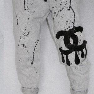 Hi Gorgeous! Black CC Drip Splatter Grey Sweatpant