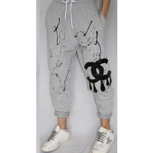 Hi Gorgeous! Black CC Drip Splatter Grey Sweatpant