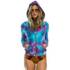 Aviator Nation Hand Dyed Zip Hoodie - Tie Dye Turquoise