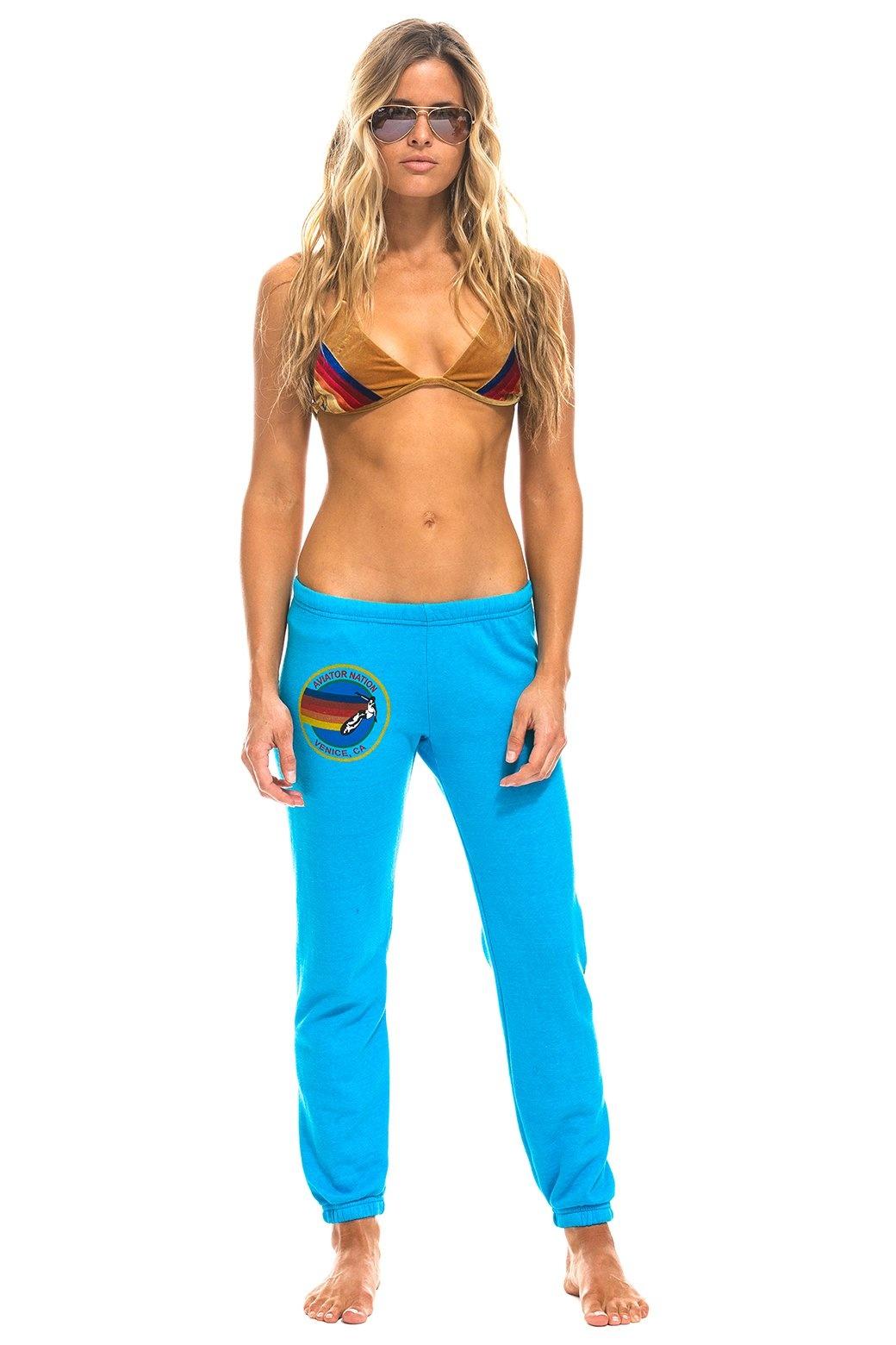 Aviator Nation AN Womens Sweatpant Neon Blue
