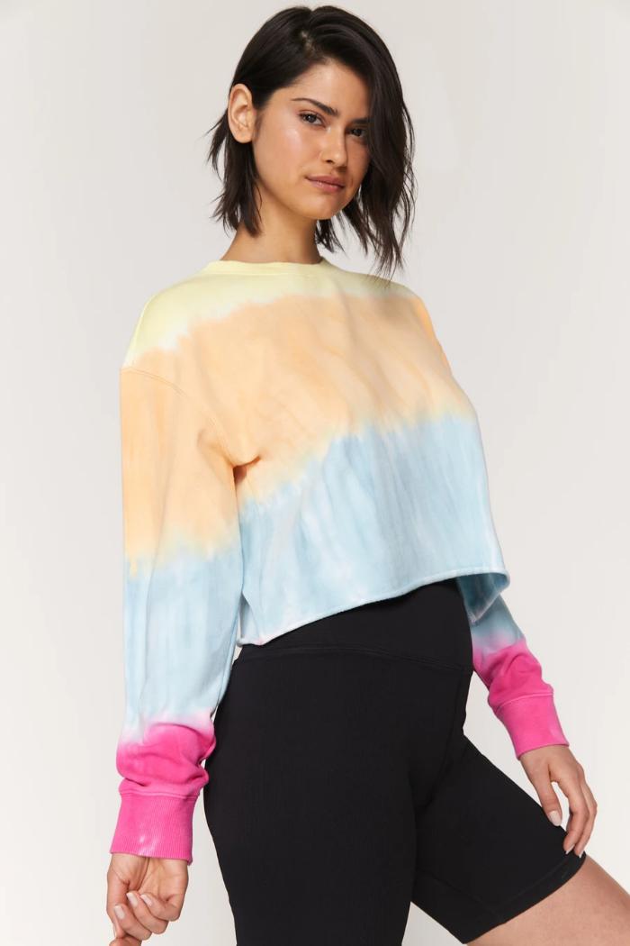 Spiritual Gangster Heart Sky Mazzy Pullover Sunrise Dip Dye