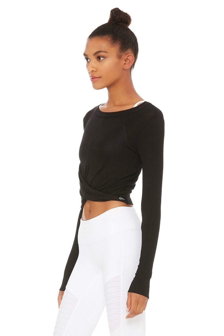 Cover Long Sleeve Top Black