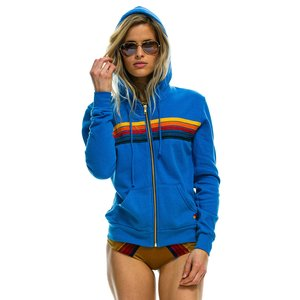 Aviator Nation 5 Stripe Zip Hoodie Cobalt
