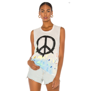 Lauren Moshi Kel Tank Brush Peace White S