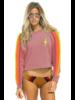 Aviator Nation Bolt Cropped Crew Sweatshirt Petal/Neon
