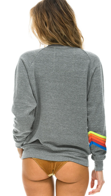 Aviator Nation Bolt Stitch Chevron 5 - Crew Sweatshirt Heather/Neon Rainbow