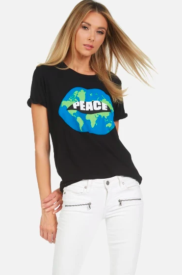 Lauren Moshi Edda Tee World Peace Lips Black