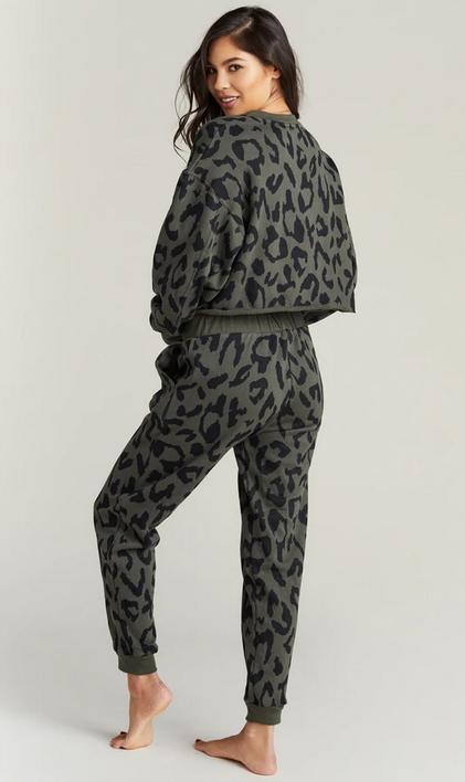 Strut This Sonoma Sweatshirt Olive Cheetah