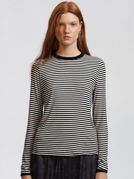 Splits59 Edie Rib Long Sleeve Black/Off White