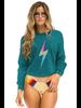 Aviator Nation Bolt Cropped Sweatshirt Jade/Rainbow Pink