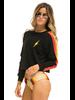 Aviator Nation Bolt Cropped Sweatshirt Black/Neon