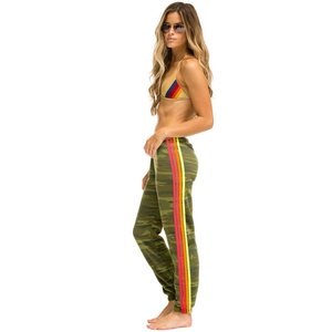 Aviator Nation 4 Stripe Womens Sweatpant Camo/Neon