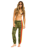 Aviator Nation 4 Stripe Womens Sweatpant Camo/Neon
