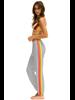 Aviator Nation 4 Stripe Womens Sweatpant Light Grey/Neon