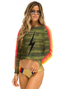 Aviator Nation Bolt Print Cropped Sweatshirt Camo/Neon