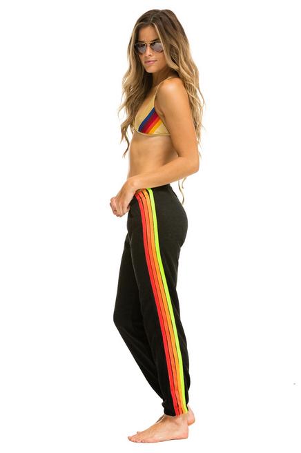 Aviator Nation 4 Stripe Womens Sweatpant Black/Neon