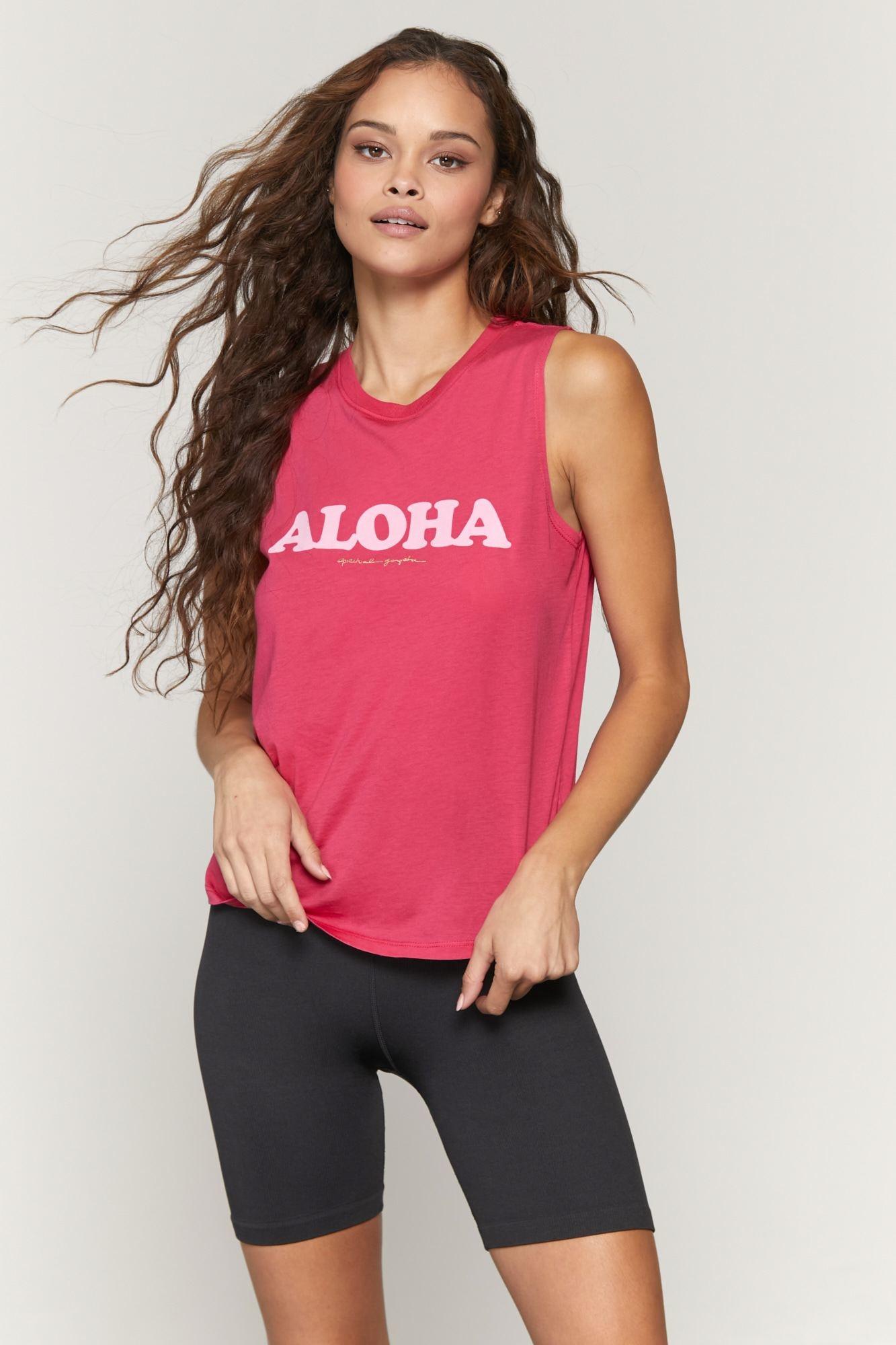 Spiritual Gangster Aloha Muscle Tank Ruby
