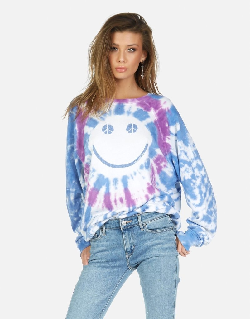 Lauren Moshi Anela - Peace Happy Face Pullover- Berry Bliss