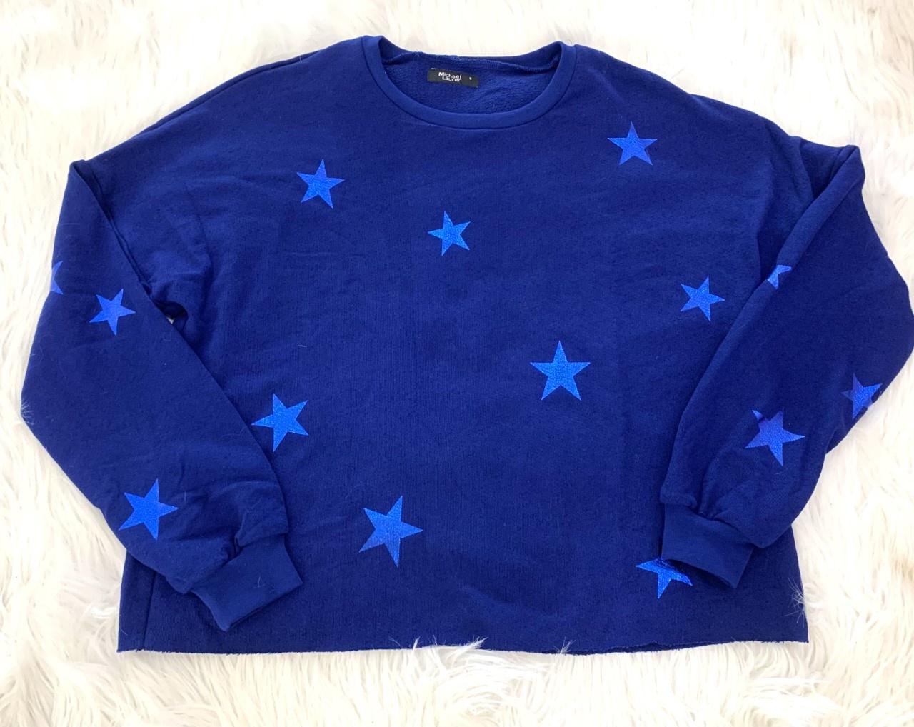 Michael Lauren Travis Crop Pullover Deep Blue