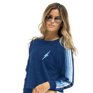 Aviator Nation Bolt Cropped Sweatshirt Royal/Light Blue