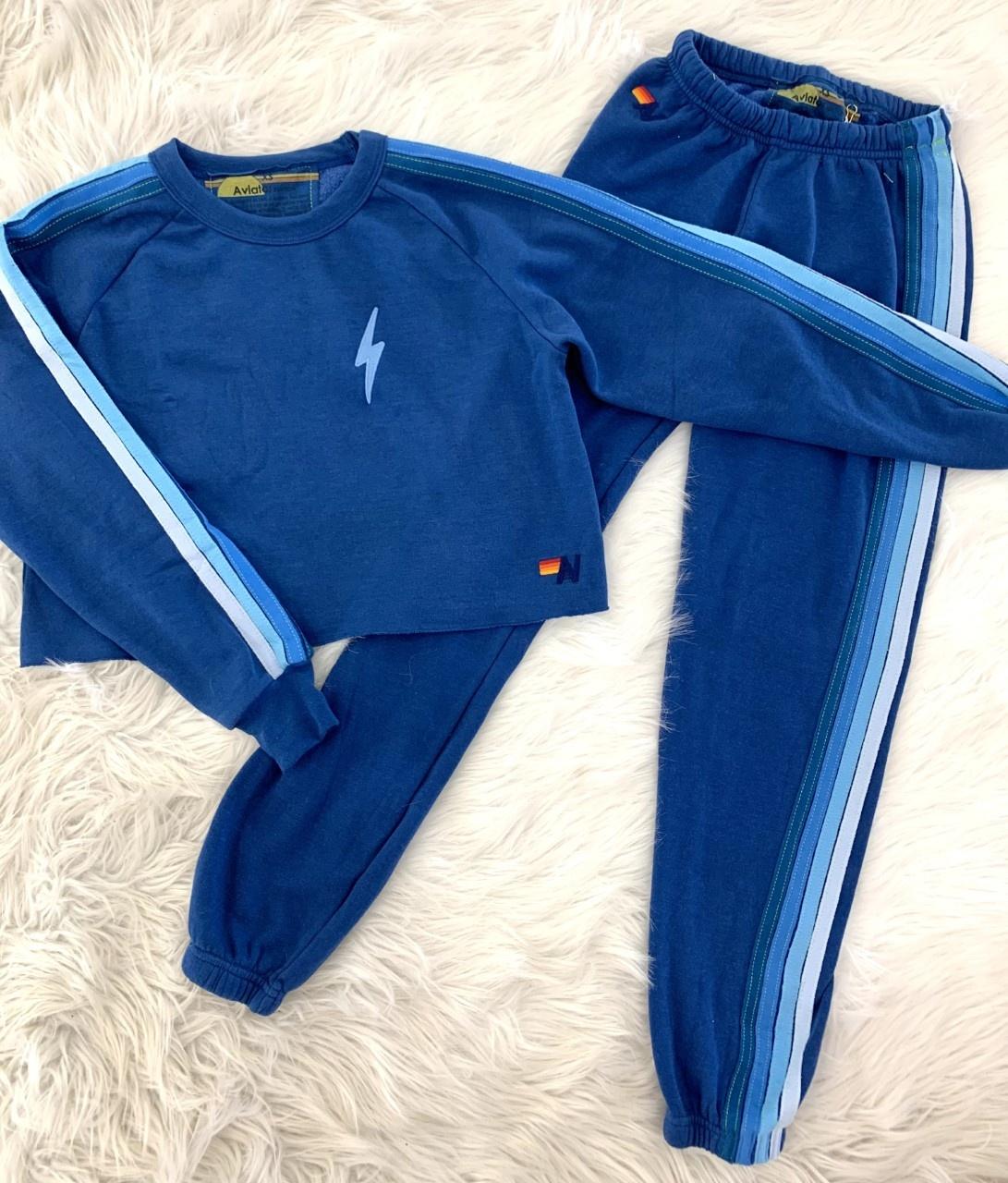 Aviator Nation 4 Stripe Womens Sweatpant Royal/Light Blue