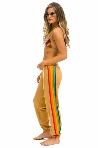 Aviator Nation 6 Stripe Womens Sweatpant Light Khaki Serape