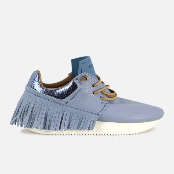 Esseutesse Skyblue Leather Fringe Sneakers