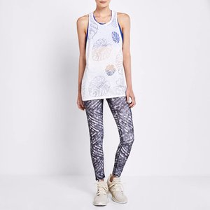 Terez White Palms Burnout Muscle Racer Tank