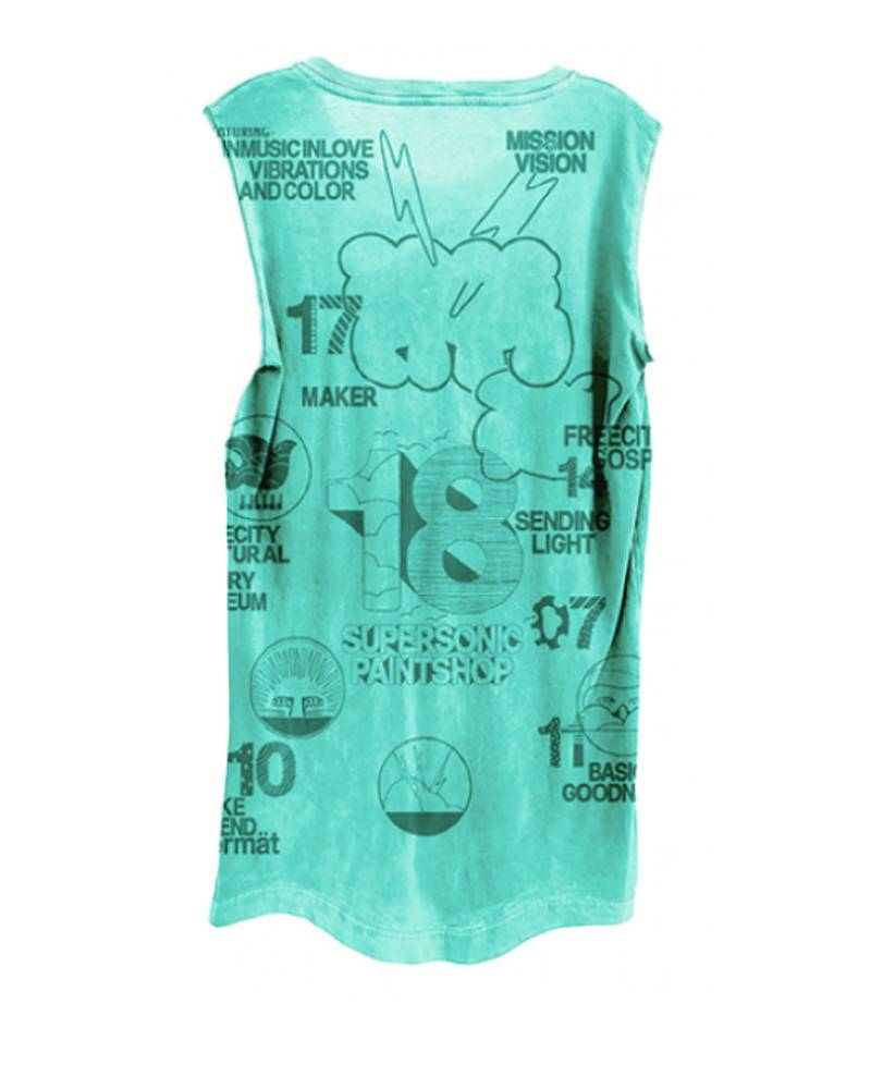 Free City Supershop Doodle Sleeveless T-Shirt Green Light